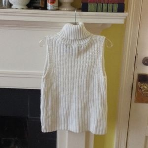 Express White Sleeveless Turtleneck Sweater Size S